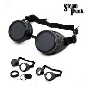 Black Steampunk Welder Goggles with Pop Out Replaceable Glass Disks